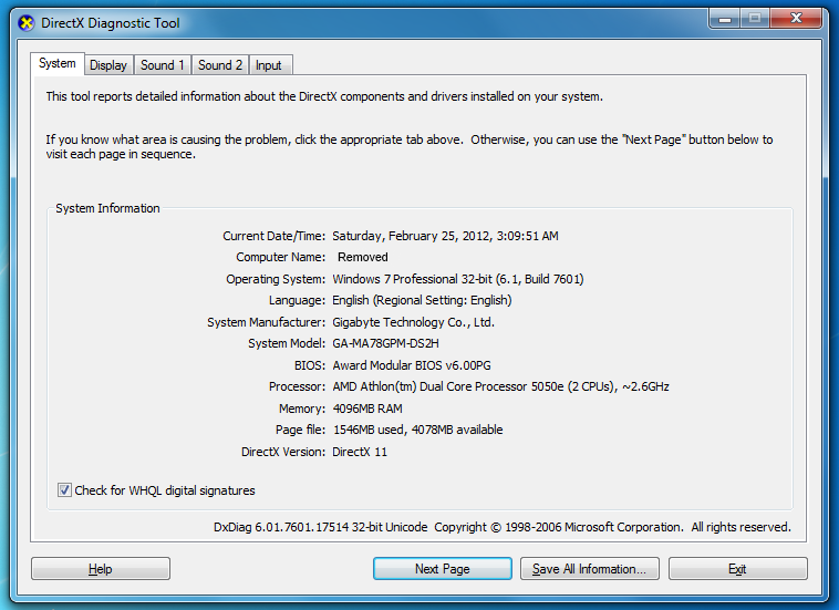 Image of the DirectX Diagnostic Tool Screen